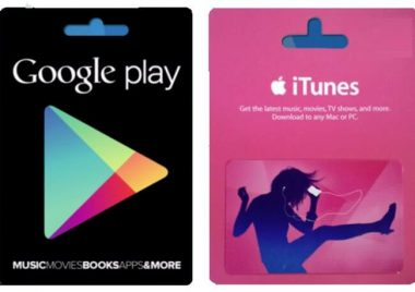itunes and google play gift cards